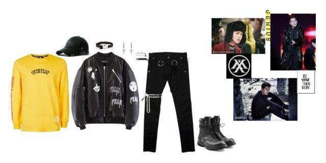 """Jooheon (Monsta X)"" by togorosi ❤ liked on Polyvore featuring Rachel Entwistle, Rick Owens, Topman, Prada, men's fashion and menswear"