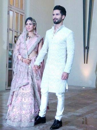 Shahid Kapoor With Meera Hitched Shahid Kapoor Wedding Indian Groom Wear Wedding Outfit Men
