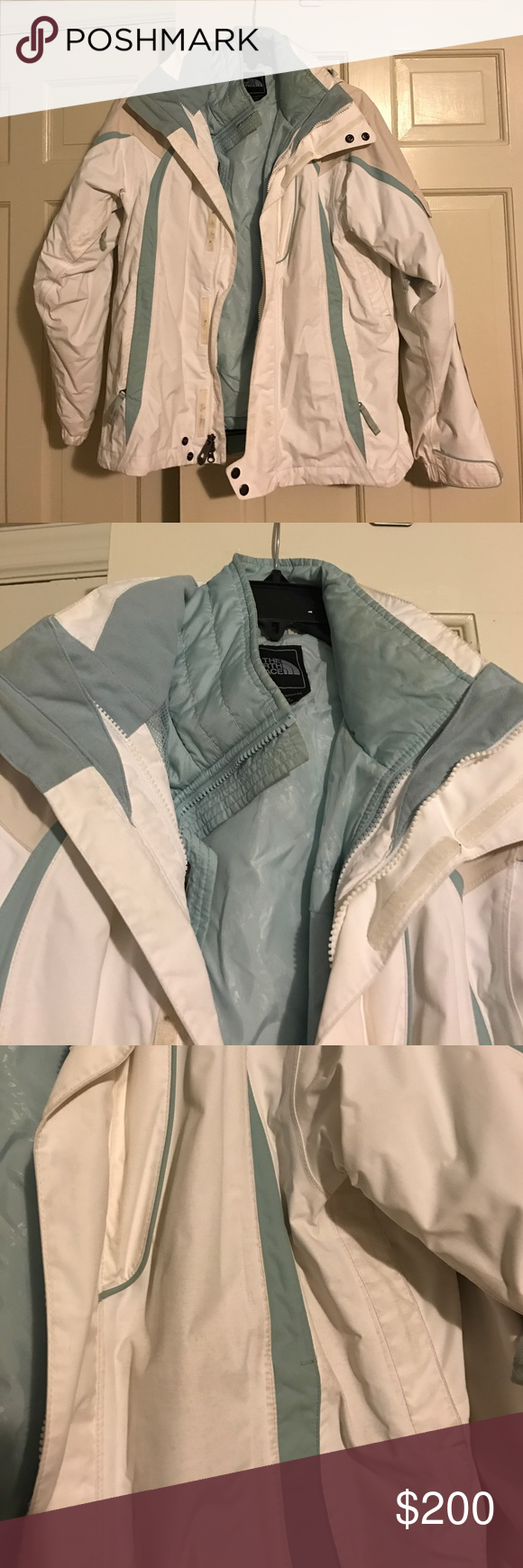 North Face ski jacket Elastic waist. Inner shell. Detachable hood. Matching  hat and ski pants also available. Excellent condition just needs a good dry  ... 6bafd9d00