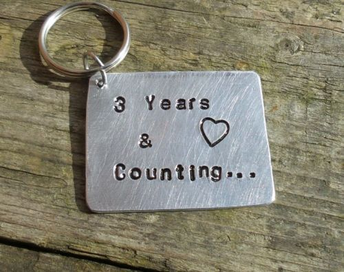 3rd Wedding Anniversary gift Keyring Metal not Leather 3 years ...