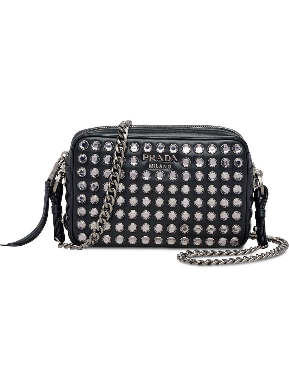 cdb0fa7c6b75 PRADA PRADA DIAGRAMME BAG WITH CRYSTALS - BLACK. #prada #bags #crystal  #leather #accessories #shoulder bags #wallet #charm