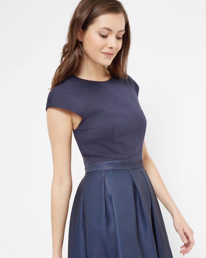 Neon Poppy full skirted dress - Navy | Dresses | Ted Baker SEU ...