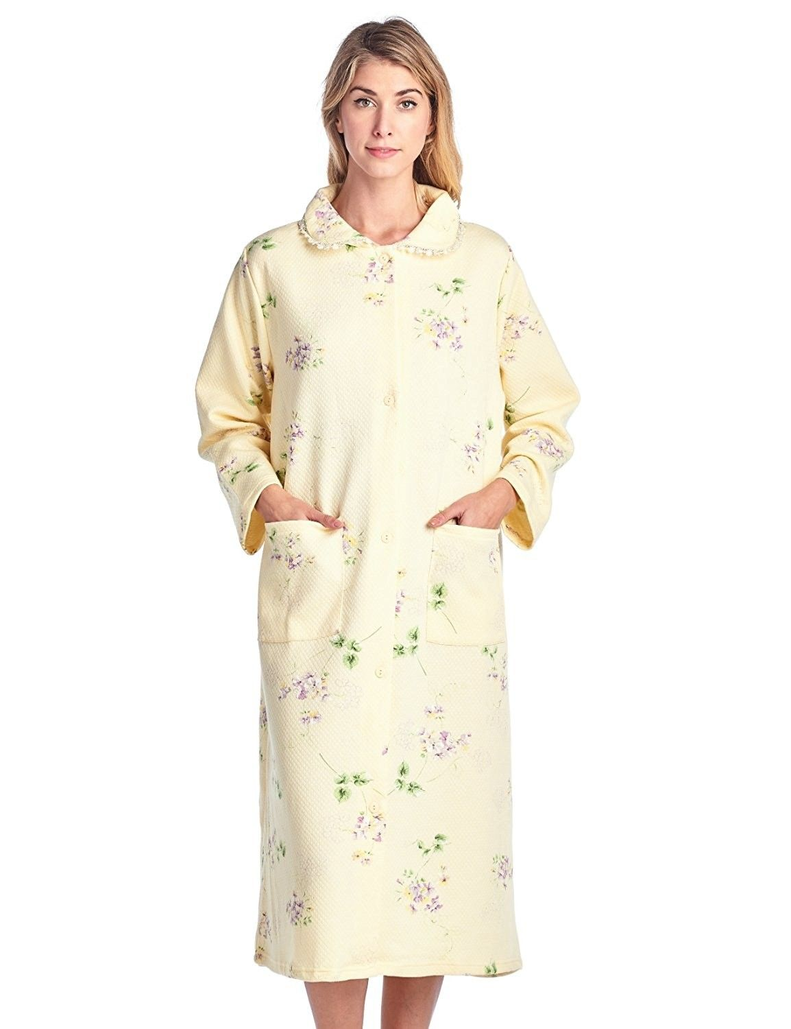 d20145e67999 Women s Long Quilted Button Down Robe House Dress - Floral Yellow -  C71883TQU3X