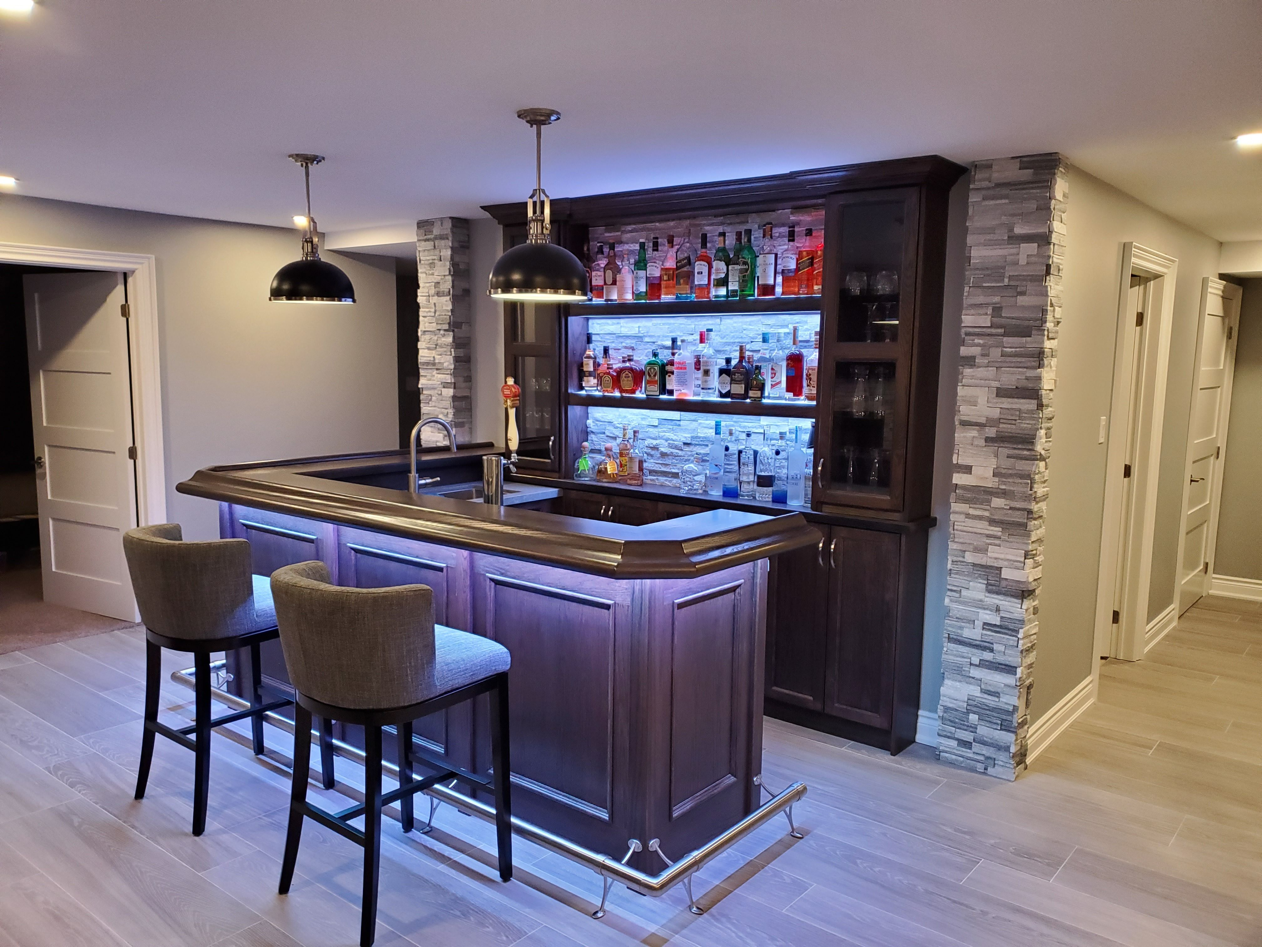 custom home bar with stone accents