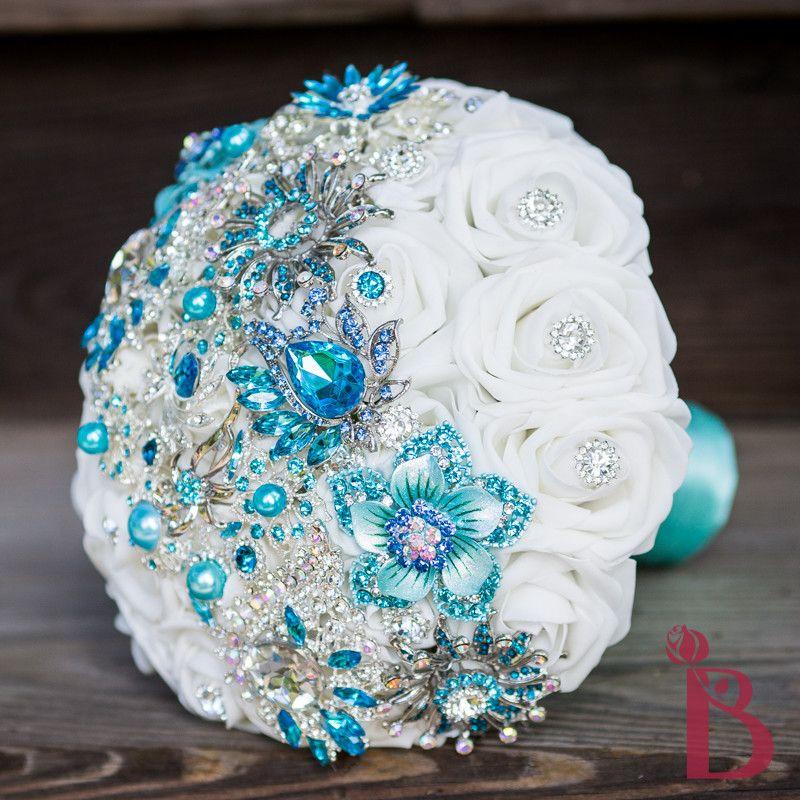 Aqua Brooch Bouquet Strip MD More Colors