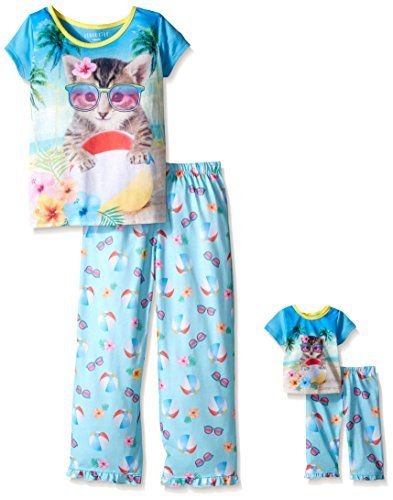 edd72883c903 Komar Kids Big Girls 2 Piece Sleepwear Set with Matching 18 Doll Set ...