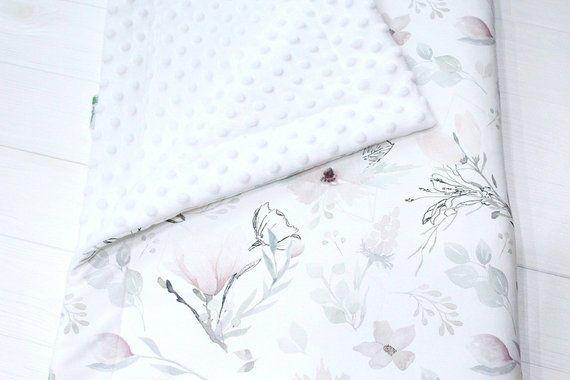Magnolia Baby Girl Blanket Floral Crib Bedding Romantic Etsy Floral Crib Bedding Baby Girl Blankets Floral Baby Blanket