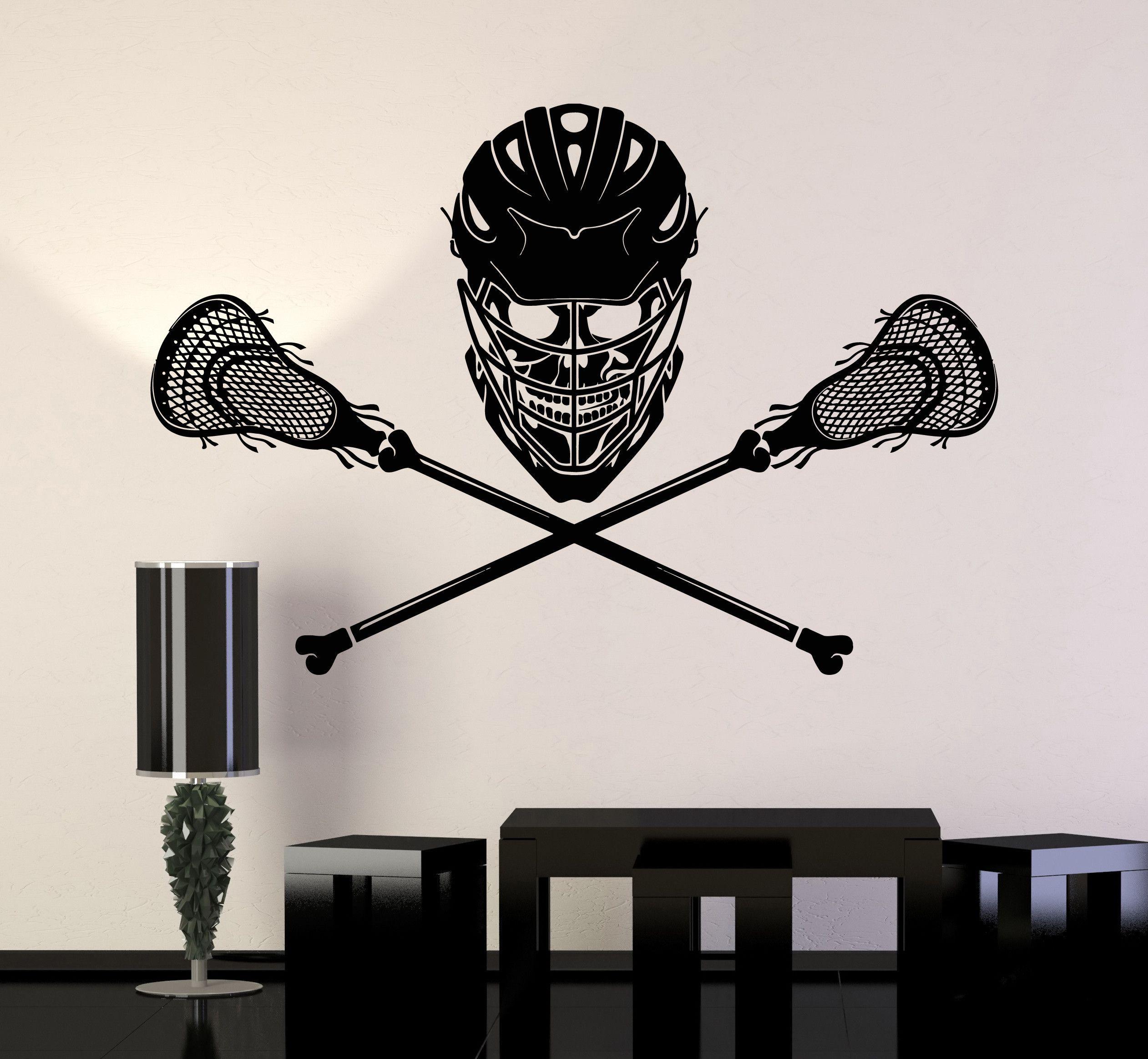 Vinyl Wall Decal Lacrosse Player Skull Sticks Helmet ...