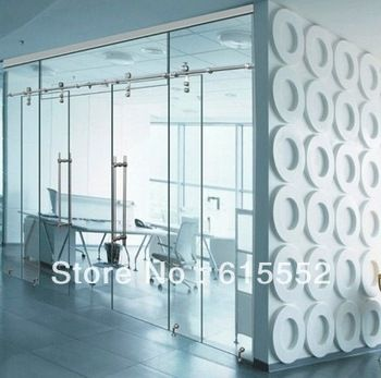 Interior Space Saving Glass Sliding Barn Door Hardware For Office
