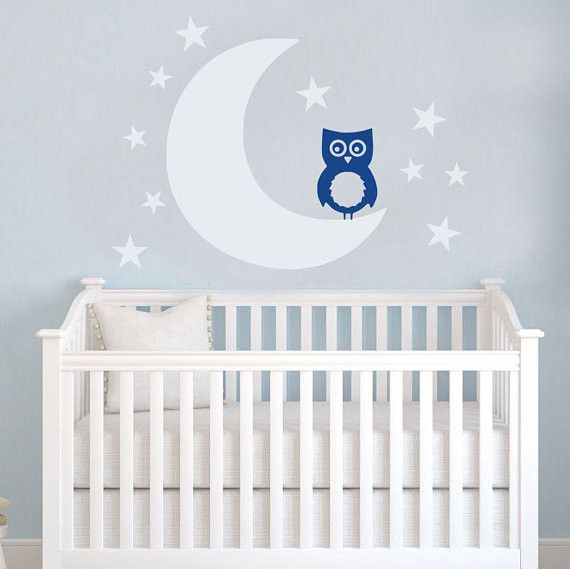 Moon And Stars Owl Nursery Wall Decal Art Sticker For Baby Room Decor