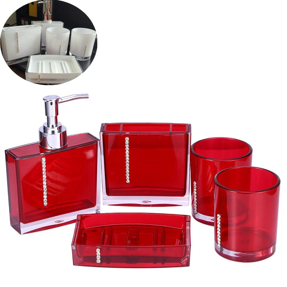 5pcs Set Acrylic Bathroom Accessories Hand Soap Dish Dispenser Tumbler Toothbrush Holder Home