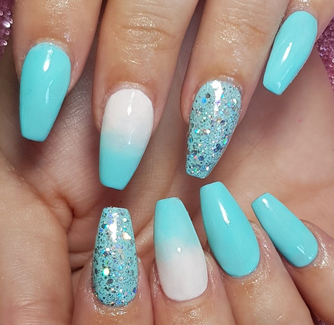 Aqua Blue And White Ombre With Glitter On Acrylic Sculpted Nails Aqua Nails Baby Blue Nails Turquoise Nails