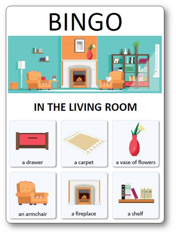 Loto Des Meubles Objets Et Pieces De La Maison In The Living Room Jeux Anglais Carte De Bingo Enseigner L Anglais
