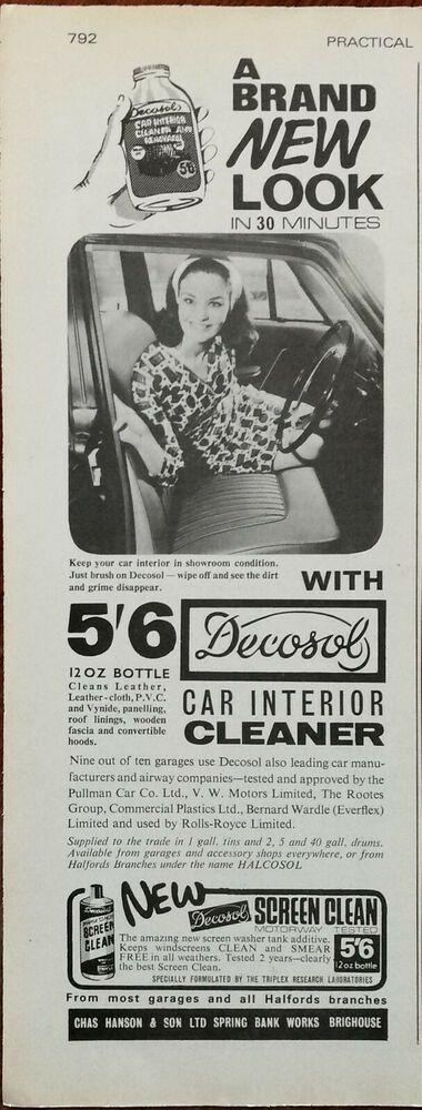 Decosol Car Interior Cleaner 5 6 12oz Bottle Vintage Advertisement 1966 V 2020 G
