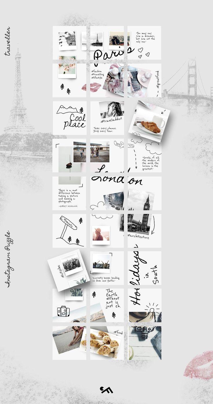 Instagram PUZZLE template Traveller Instagram design