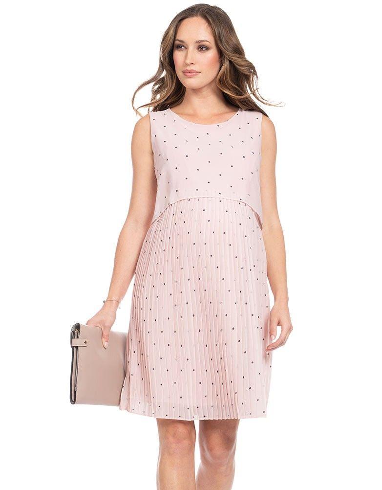 65a6d526e64 Blush Dot Pleated Maternity   Nursing Dress in 2019