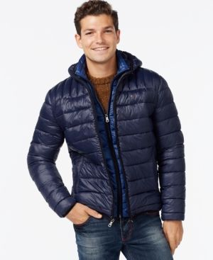 8b4c97596 Tommy Hilfiger Men's Big & Tall Layered Packable Puffer Coat - Blue ...