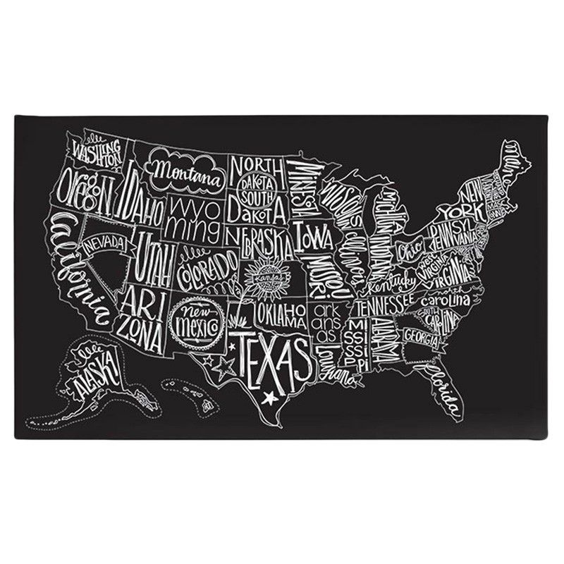 Cool Black And White Us Map Wall Art