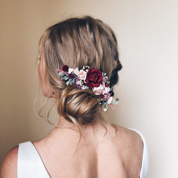 Blume Haarkamm, Hochzeit Blume Haarkamm, Burgund Blume Haarspange, Braut Blume Haarteil, Braut Haarschmuck