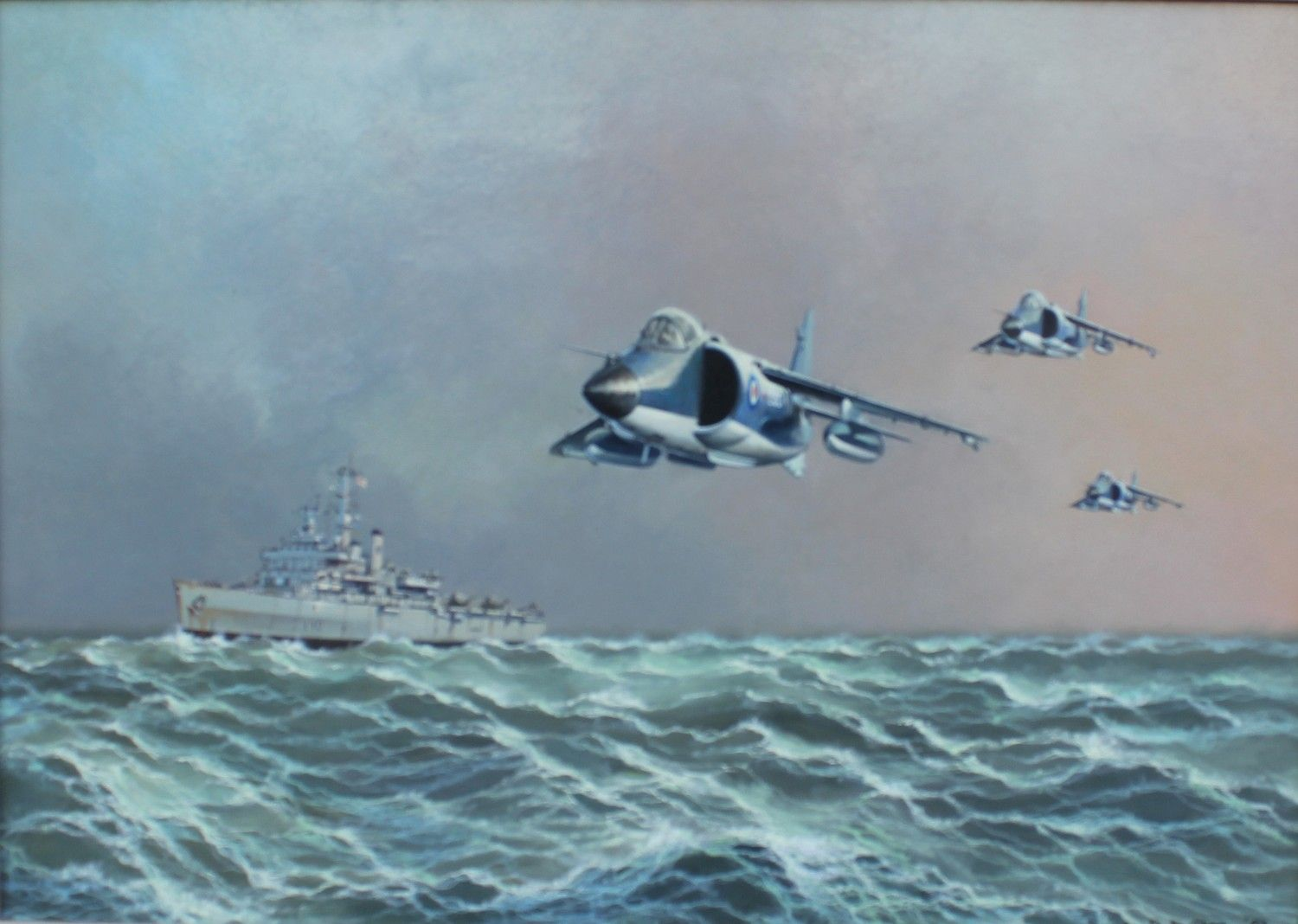 Clark, Barrie b.1943 British AR, H.M.S Hermes and Harriers on Duty ...