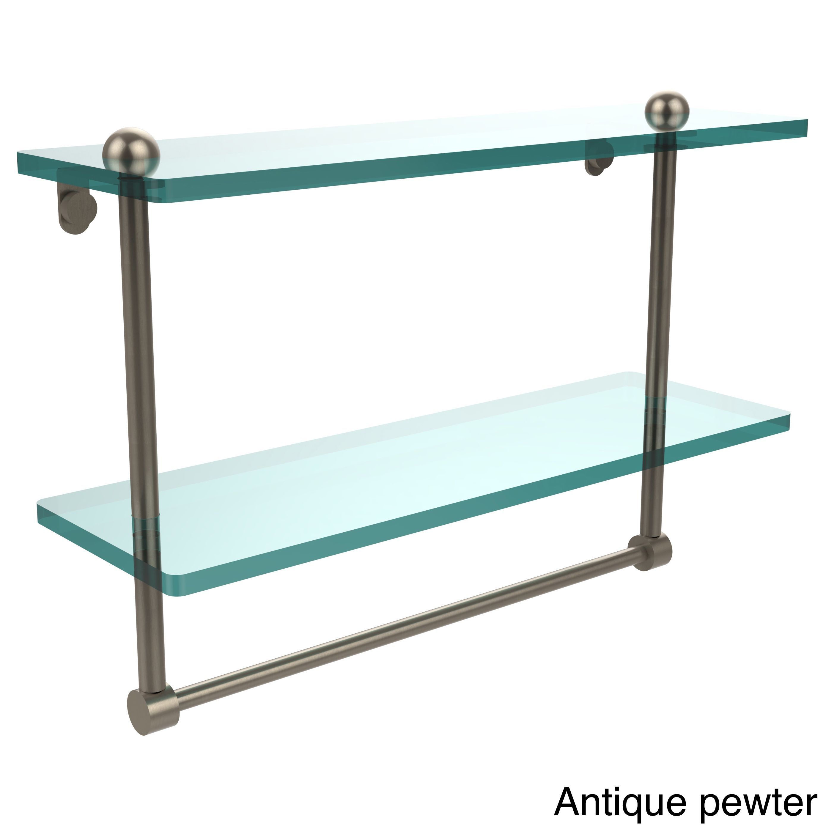 Allied Brass 16-inch Two Tiered Glass Shelf with Integrated Towel ...