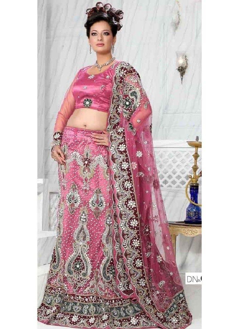 Net satin Pink Lehenga Choli | bridal | Pinterest | Lehenga choli ...