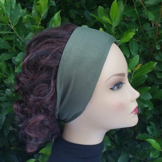 Headbands for women, green jersey knit headband, spandex headband, fashion headband, hair band, stre...
