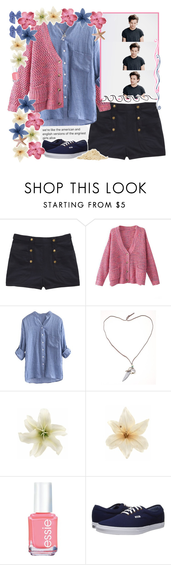 """//oh, show me your love♥"" by tropical-songwriter ❤ liked on Polyvore featuring Opening Ceremony, Chicnova Fashion, Clips, Essie, Vans, Forever 21, Pink, preppy, navy and beige"
