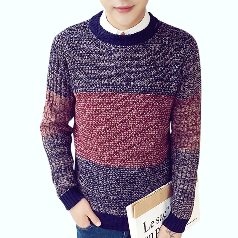 Hot New Winter Men Sweater Cotton Knitted O Neck Long Sleeve ...
