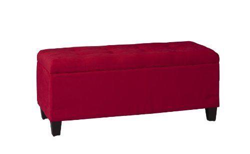 Linon Carmen Shoe Storage Ottoman  Red