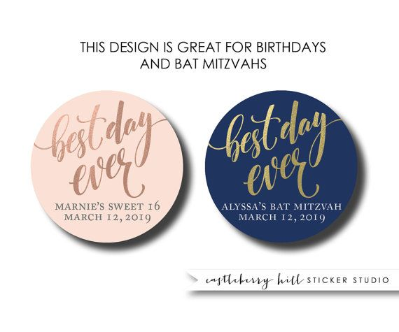 Best day ever labels navy and gold stickers round labels favor labels wedding stickers custom stickers personalized stickers custom favors