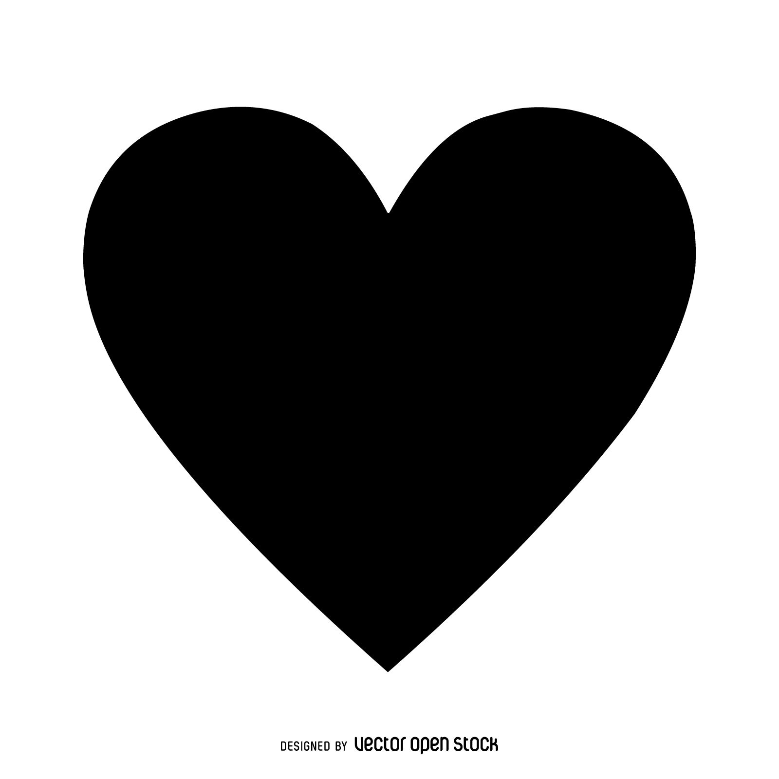Isolated black heart over white. Symmetric and monochrome ...