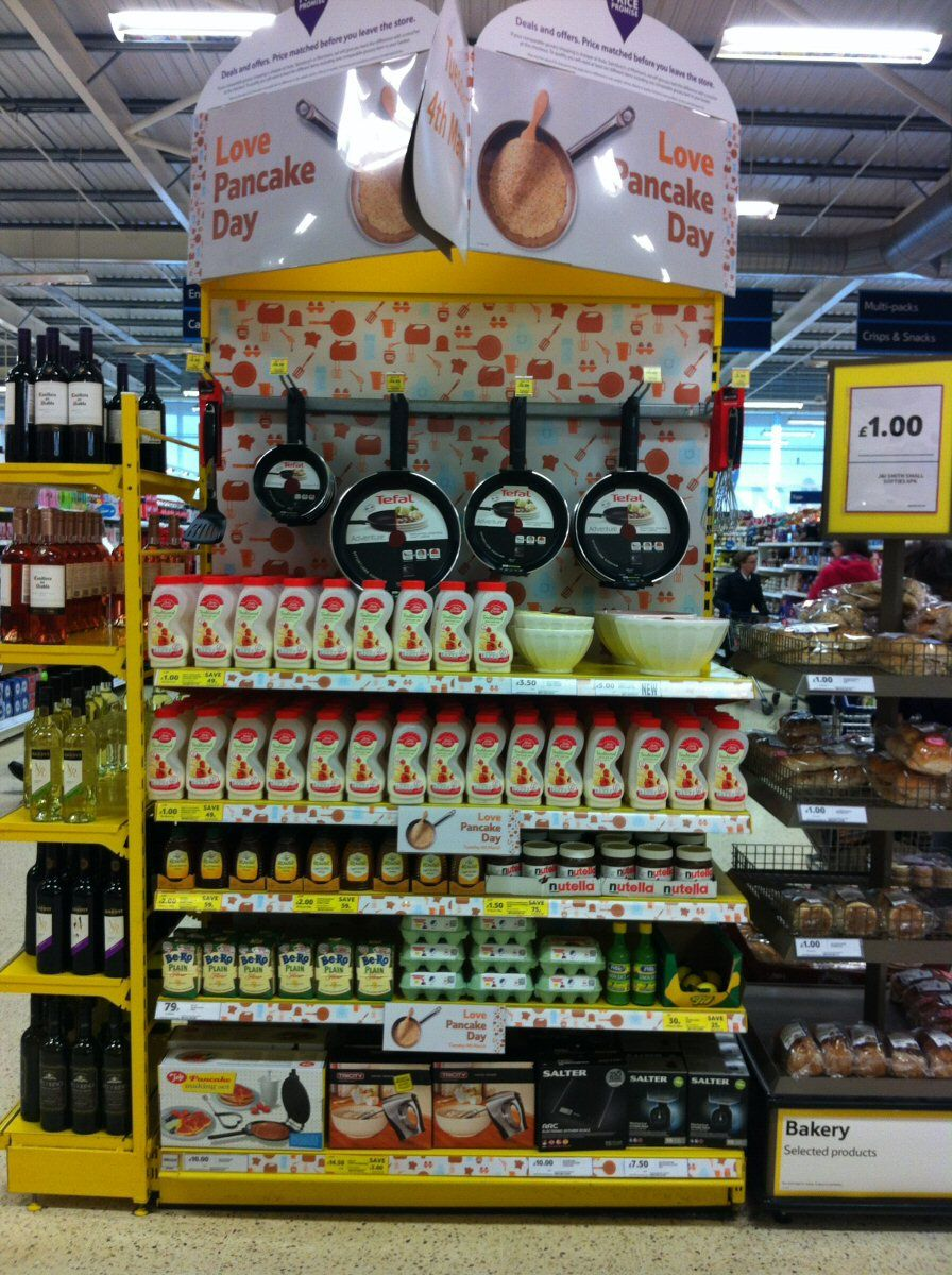 Pancake day gondola end display, Tesco Ellon, February 2014. As a ...