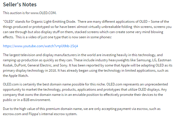 Oled Domain Auction Description Things To Sell Domain Names