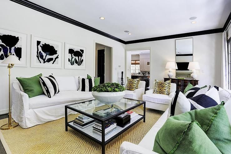 White And Black Living Room With Emerald Green Accents Transitional Living Room Living Room Green Black Living Room Emerald Green Living Room