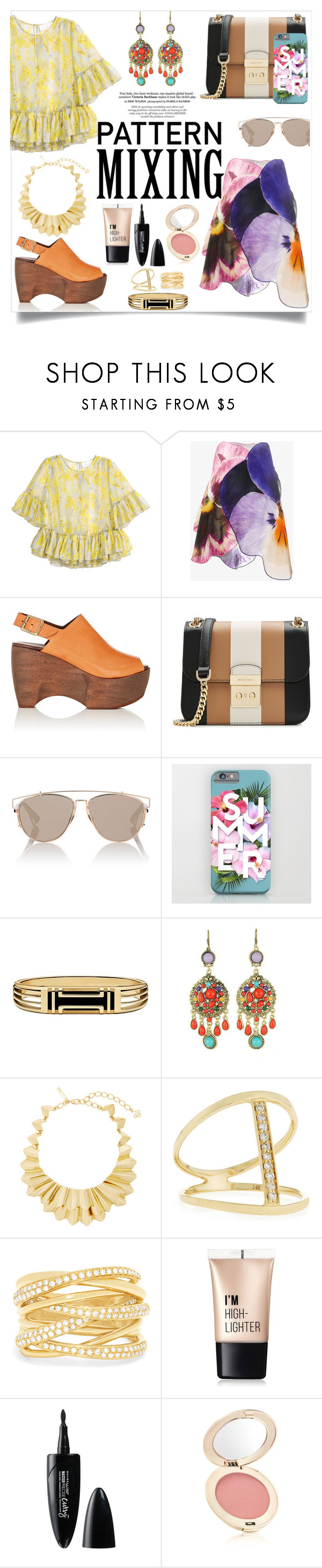 """Bold Colors - Pattern Mixing"" by allyssister ❤ liked on Polyvore featuring H&M, Christopher Kane, Simon Miller, MICHAEL Michael Kors, Christian Dior, Tory Burch, WithChic, Oscar de la Renta, Sydney Evan and Effy Jewelry"
