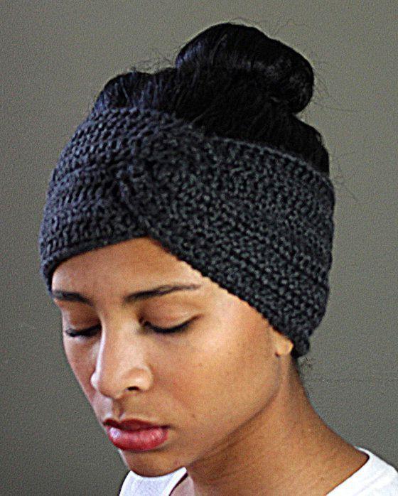Crochet Headband Ear Warmer With Button Pattern in Crochet #crochetedheadbands