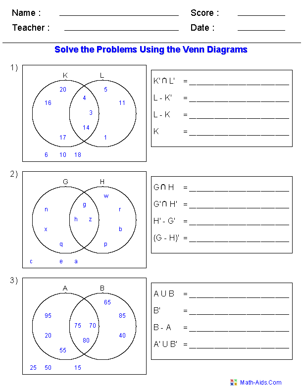 venn diagram worksheets set notation problems using two. Black Bedroom Furniture Sets. Home Design Ideas