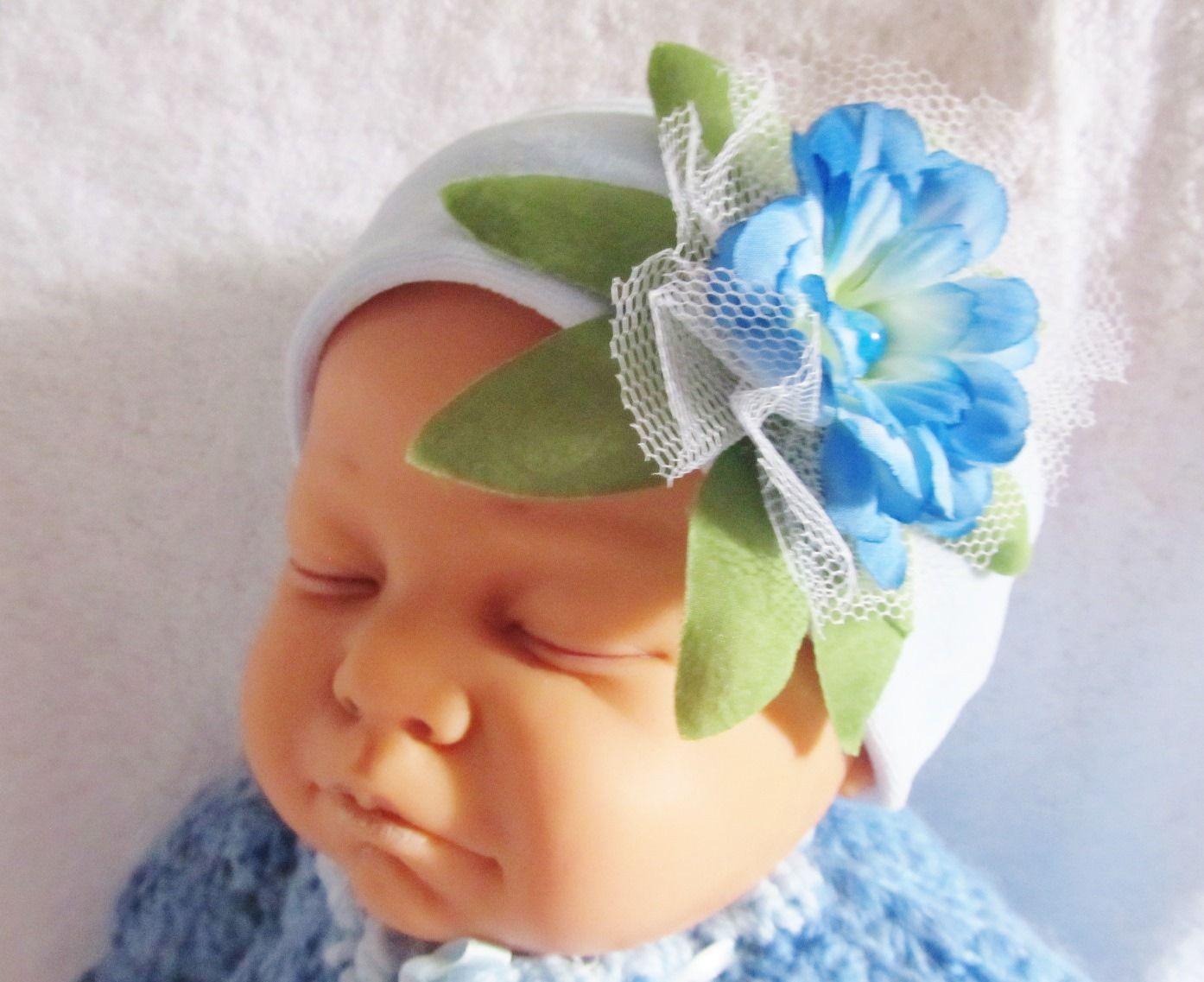 bandeau à fleur bébé / headband bleu clair pour bébé avec fleur : Mode Bébé par bebe-chou-by-estefan