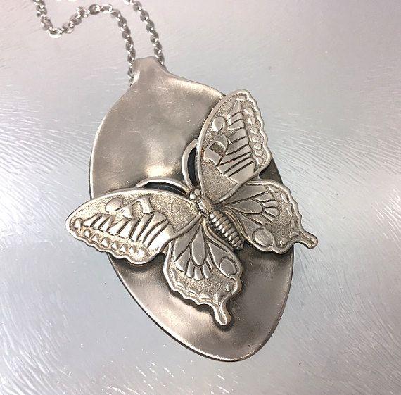 Butterfly Spoon Pendant Spoon Necklace Butterfly Jewelry