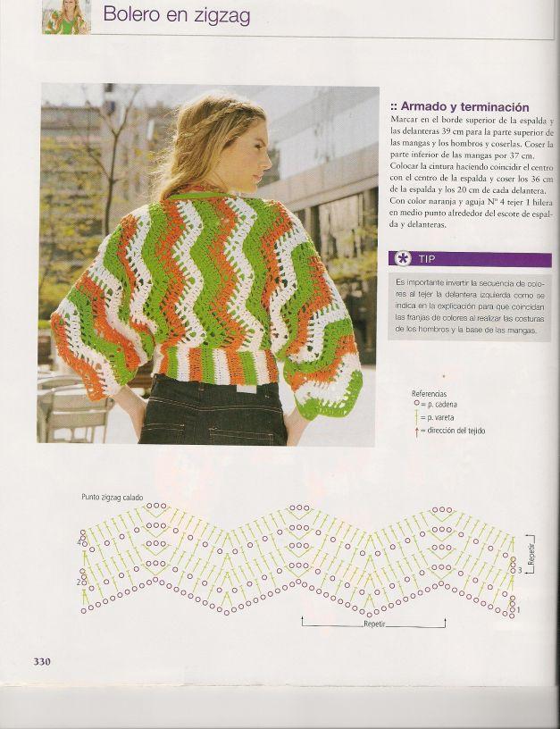 bolero zig zag 3 | hacer para | Pinterest | Croché, Boleros y Ganchillo