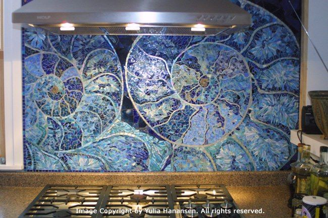 Yulia Hanansen - seashell mosaic backsplash