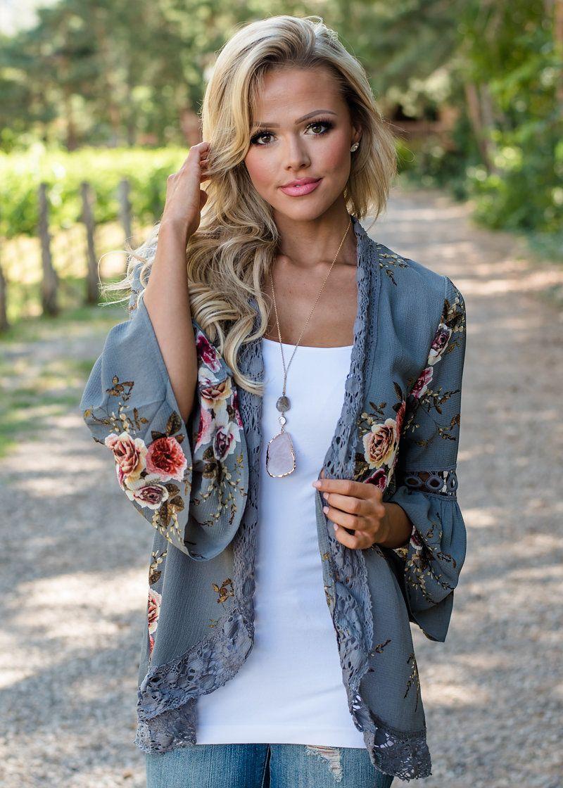 1869ded67361 Floral Lace Trim Kimono Charcoal