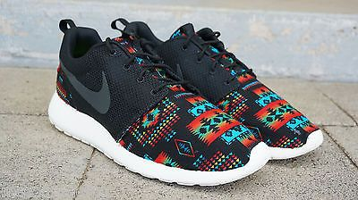 buy popular 15612 7ed87 New Nike Roshe Run Custom Black Blue Tribal Aztec Edition Men Sizes 8 - 15