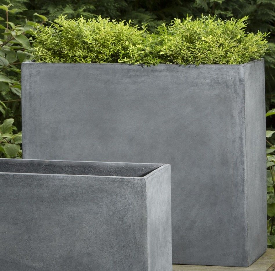 Garden Comely Furniture And Accessories For Decoration Using Rectangular Floor Standing Modern Concrete Planters
