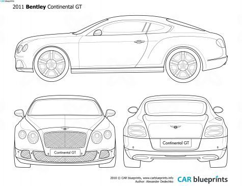 2011 bentley continental gt coupe blueprint drag bikes bentley continental gt blueprints vector drawings clipart and pdf templates malvernweather Image collections