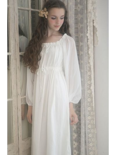 Simple Vintage Long Balloon Sleeves Medieval Chemise Dress  7da0f6e42