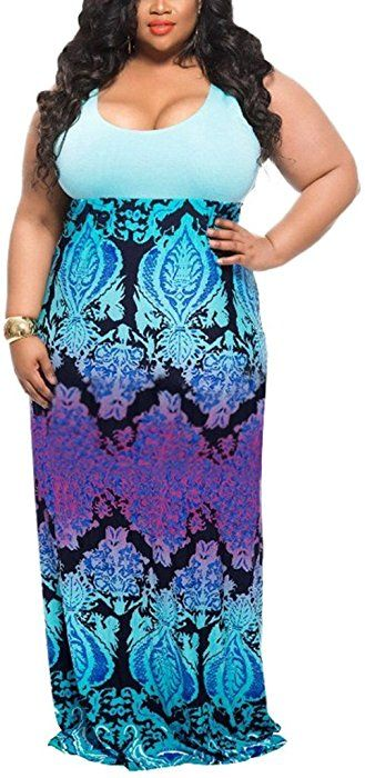 daa0ce03d7c Akmipoem Women Wave Striped Plus Size Scoop Neck Chevron Maxi Long Dress at  Amazon Women s Clothing store