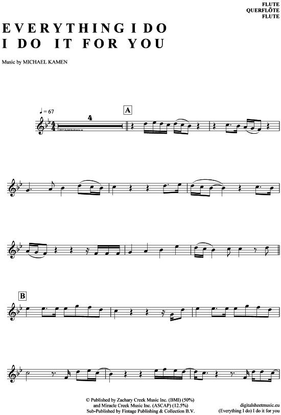 (Everything I do) I do it for you (Querflöte) Bryan Adams [PDF Noten] >>> KLICK auf die Noten um Reinzuhören <<< Noten und Playback zum Download für verschiedene Instrumente bei notendownload Blockflöte, Querflöte, Gesang, Keyboard, Klavier, Klarinette, Saxophon, Trompete, Posaune, Violine, Violoncello, E-Bass, und andere ...