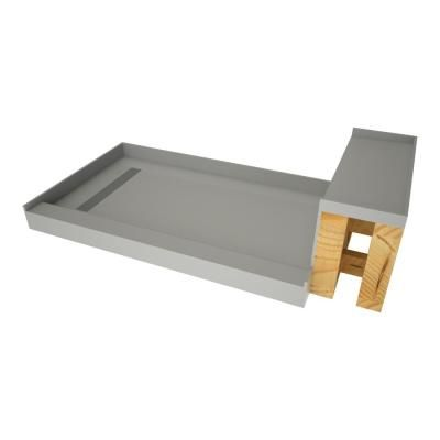Tile Redi 32 In X 72 In Single Threshold Shower Base In Gray And